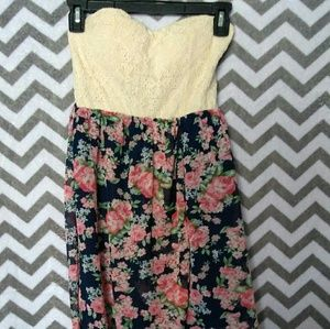 Rue 21 Strapless Floral Hi-Low Dress